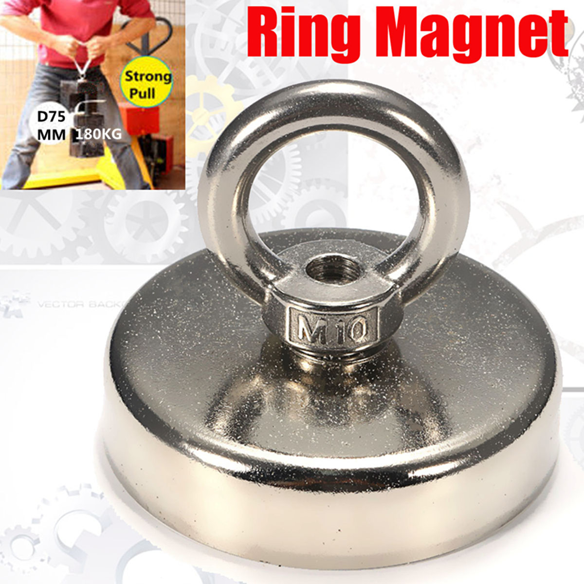 75mmx63mm 162kg Fishing Magnet with Countersunk Hole and Eyebolt Round Neodymium Recovery Magnet Metal Detector suleve 75x80mm neodymium recovery magnet metal detector eyebolt circular ring magnet 165kg