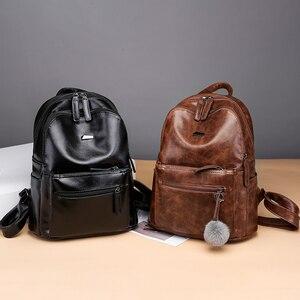 Image 5 - Marque de luxe Vintage sac à dos femme PU cuir marron collège Anti vol sac à dos femmes voyage dames sacs à dos femme 2018