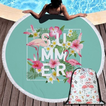 Popular Flamingo Series Summer Beach Towel 150cm Microfiber Swimming Bath Towel Outdoor Sport Yoga Casual Blanket Beach Mat 1