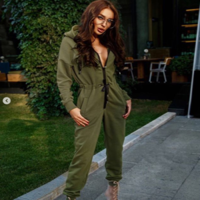 New Fashion Women Ladies Long Sleeve High Waist   Jumpsuit   Hoodies Street Wear Casual Sports Jumpsiut Romper Long Trousers