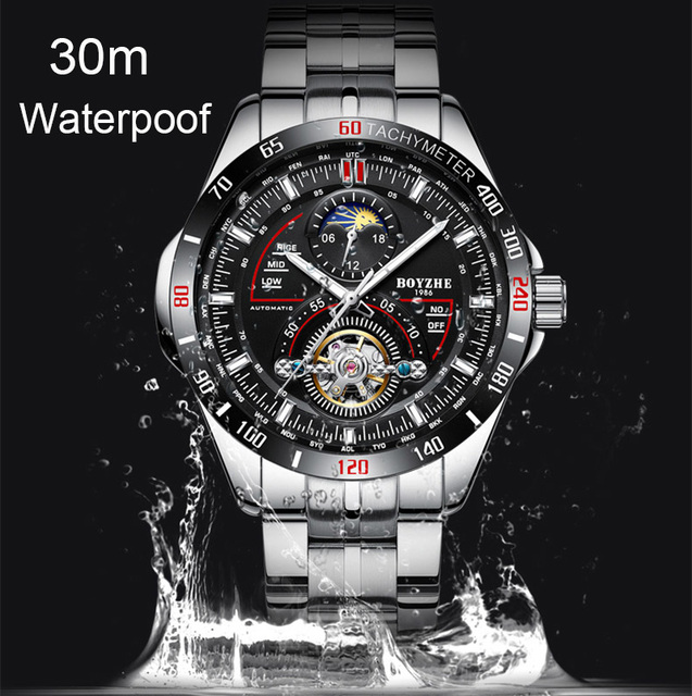BOYZHE Men Automatic Mechanical Fashion Top Brand Sport Watches Tourbillon Moon Phase Stainless Steel Watch menx27s watch