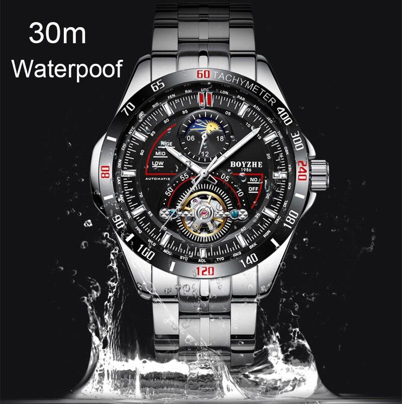 BOYZHE hombres automático mecánico moda superior marca deporte relojes Tourbillon Luna fase reloj de acero inoxidable - 5
