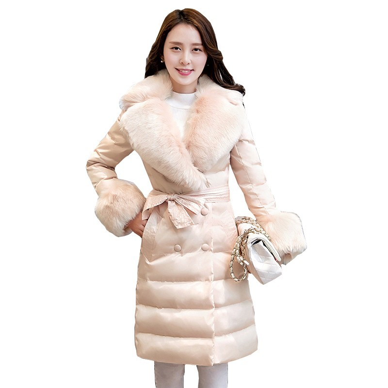 High quality 2019 White duck   down   90% Slim   Down   clothes   coat   New Korea Ms Winter jacket Warm Fur collar Elegant   down     Coat   Women