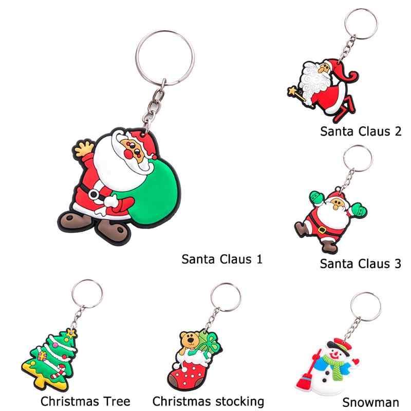 Baru Panas PVC Santa Claus/Pohon/Kaus Kaki/Snowman Gantungan Kunci Hadiah Natal Gantungan Kunci Lucu Pohon Natal Pesona Kunci chian Perhiasan