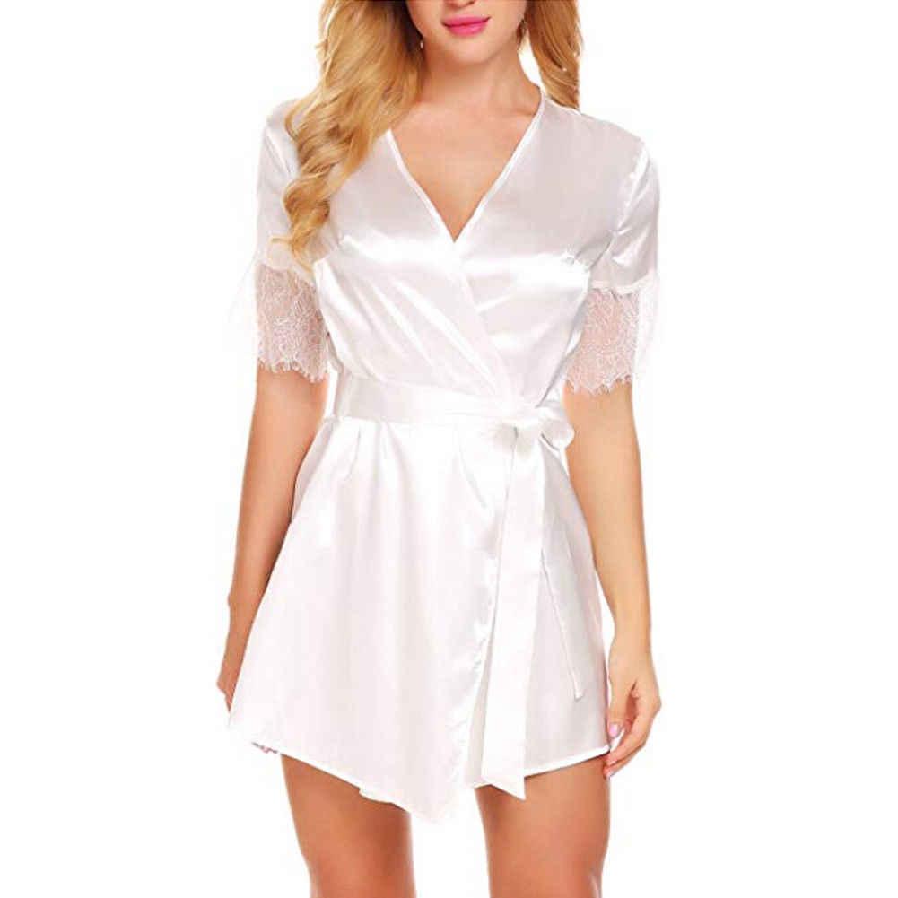 ชุดชั้นในเซ็กซี่ผู้หญิงผ้าไหมผ้าลูกไม้ Babydoll Nightdress Nightgown เสื้อคลุมอาบน้ำชุดนอนสีดำสีชมพูสีแดงสีขาว