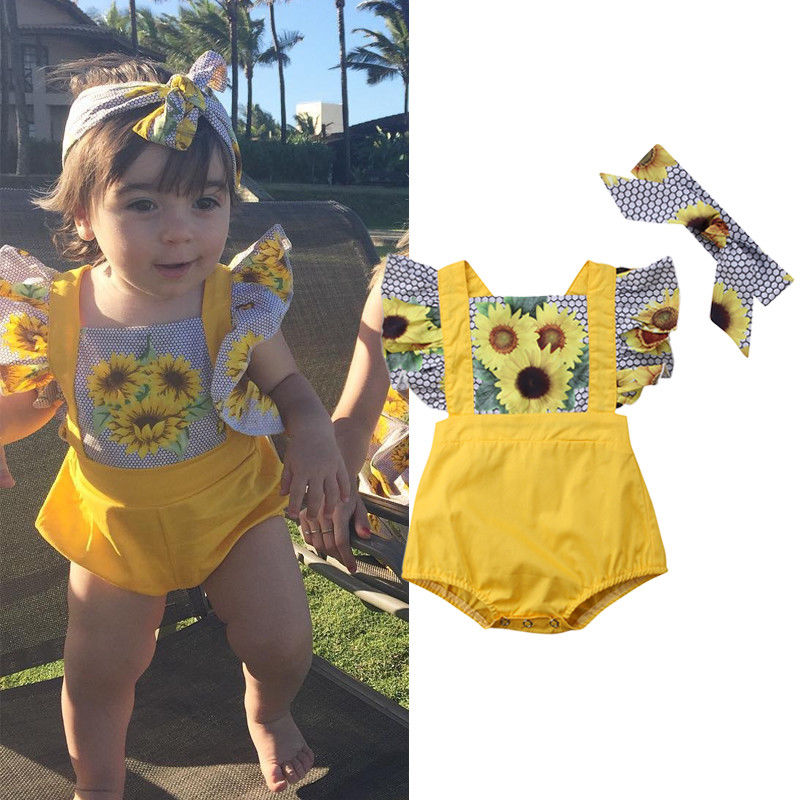 Pudcoco Girl Jumpsuit 0-12M Newborn Infant Baby Girl Sunflower Romper Headband Outfits Clothes Set