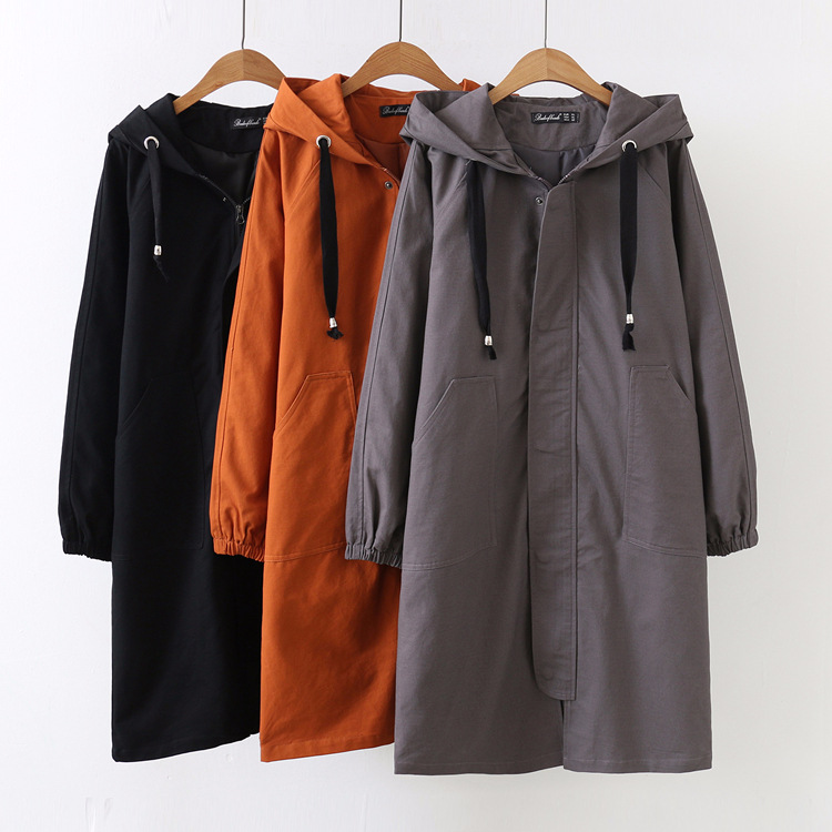 Solid Full Coat Trench Autum Elegant Designer Streetwear brown Black Women Sleeve Windbreaker gray For Hooded Long Loose SwXAxqAEP
