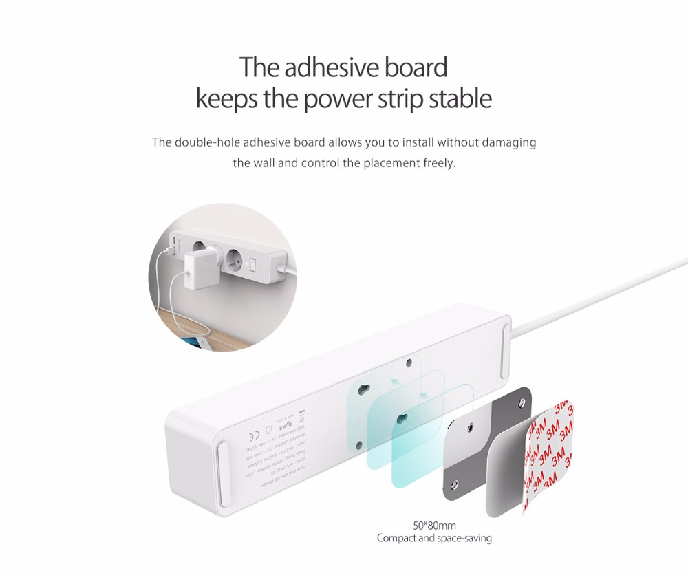 Image 2 - ORICO 3/5 AC+2 USB Power Strip with USB Electronic Socket Home Office Surge Protector EU Plug hargers Extension Smart SocketExtension Socket   -