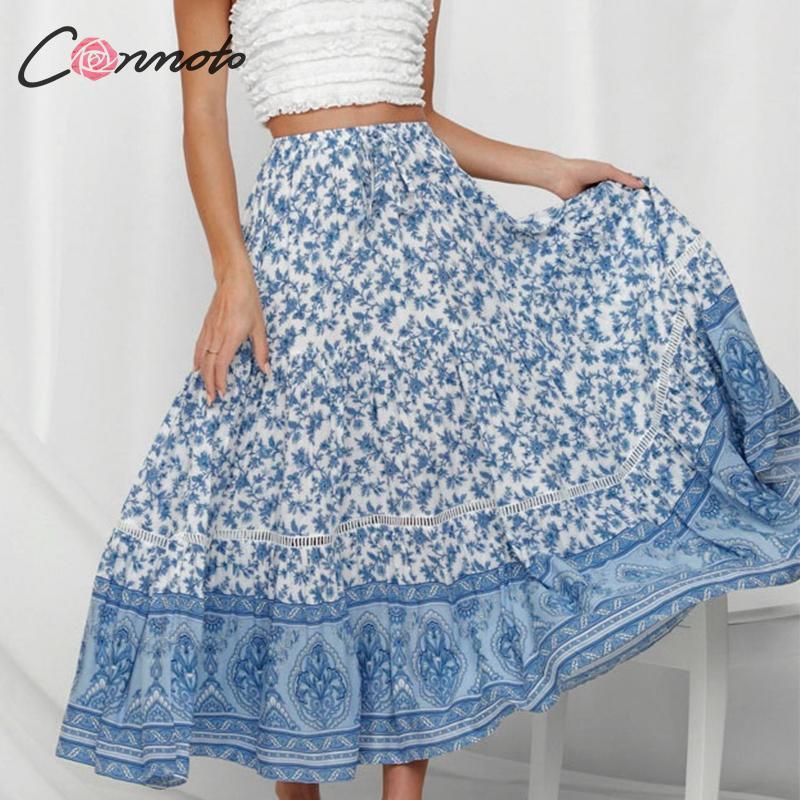 60a956e720 Conmoto Vintage Blue Print Long Skirt Women 2019 Summer Girl High Waist  Lace up Skirt Female Casual Holiday Beach Long Skirts
