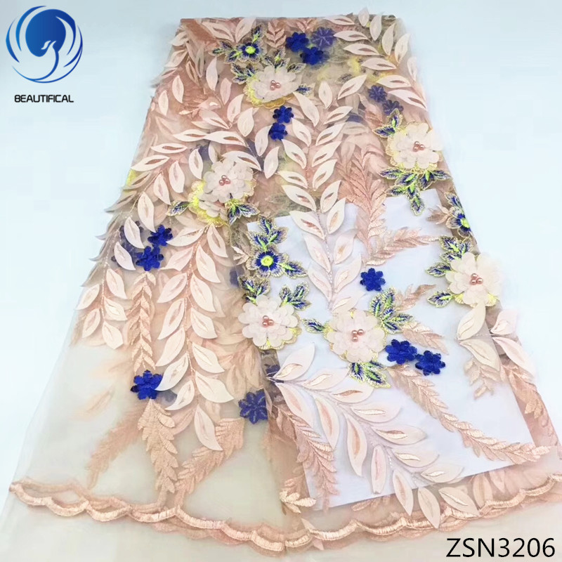 BEAUTIFICAL free shipping 3d flower lace fabric embroidery lace 3d french lace fabric 2018 beads beautiful