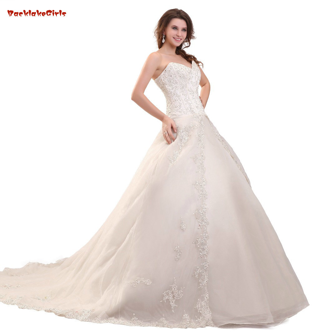 Wedding Ball Gowns Sweetheart Neckline: Real Photo Sweetheart Neck Appliques Lace Ball Gown