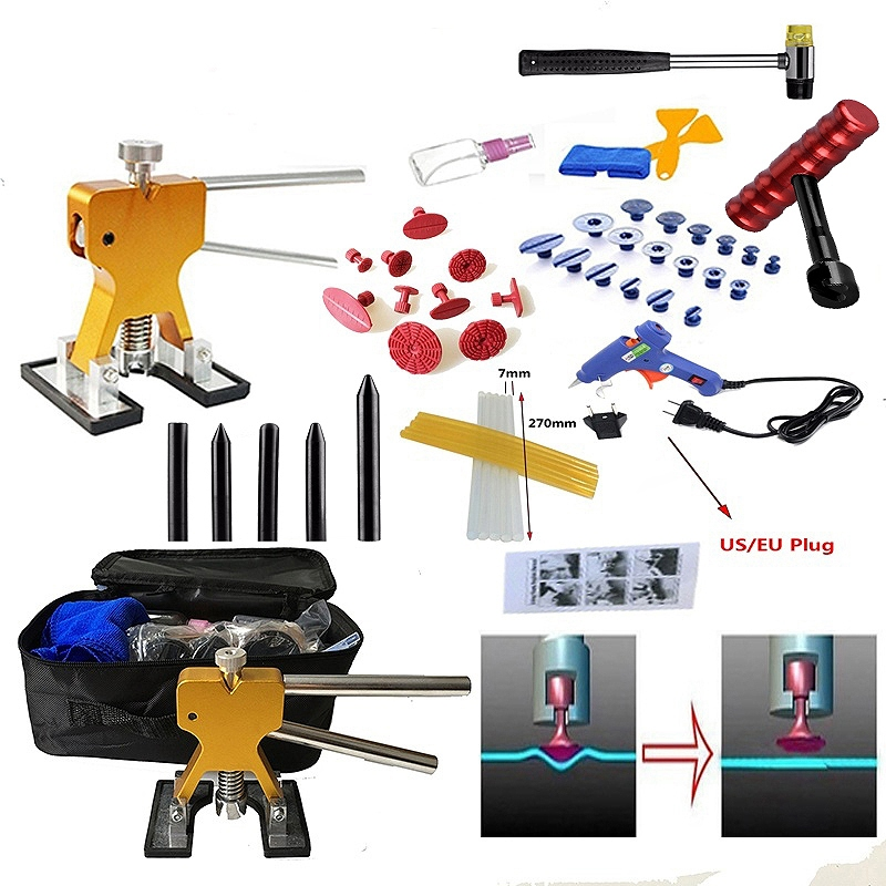 51pcs/Set Metal Painless Dent Repair Dent Lifter-Glue Puller Tab 20W Glue Machine Hail Removal Paintless Car Dent Repair Tools