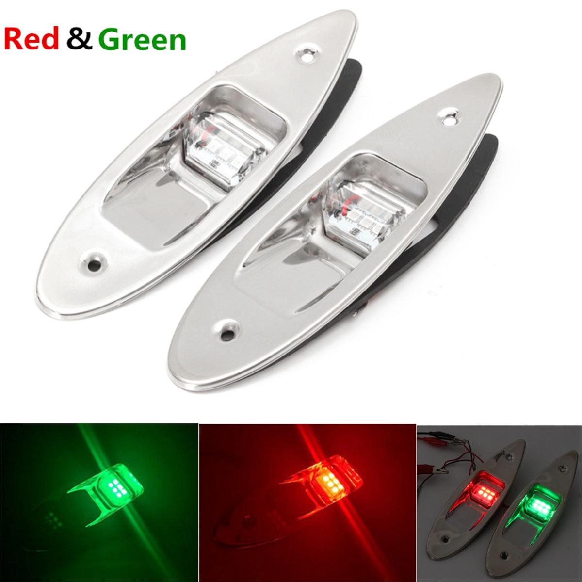 2Pcs Universal Lights Boat Boat LED Navigation Lights Red Green Waterproof Marine Boat LED Side Marker Navigation Mount Light