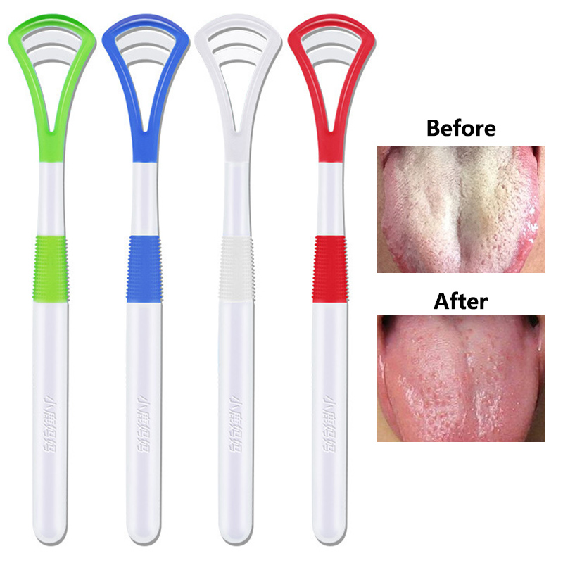 Hot 1PC Random Color Tongue Brush Cleaner Scraper Cleaning Care Oral Hygiene Healthy