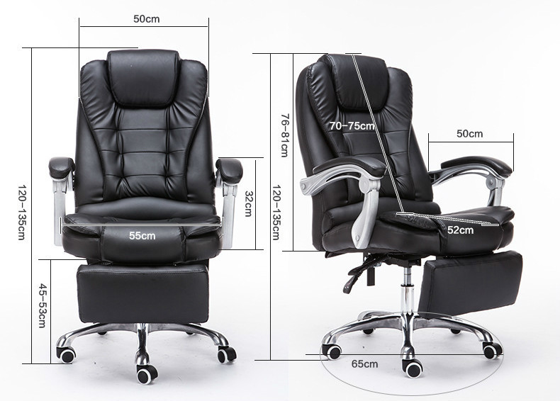 Купить с кэшбэком Reclining Adjustable Boss Office Armchair Fashion PU Computer Leisure Chair Explosion-Proof Swivel Chair Seat With Footrest