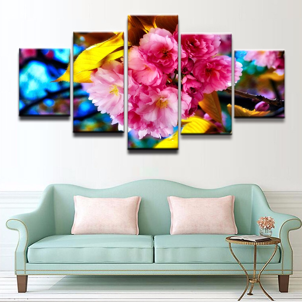 HD Print Painting On Canvas Art Print Wal Picture For Living Room 5 Panel Spring Sakura Blossom Modular Wall Art Paintings Frame in Painting Calligraphy from Home Garden