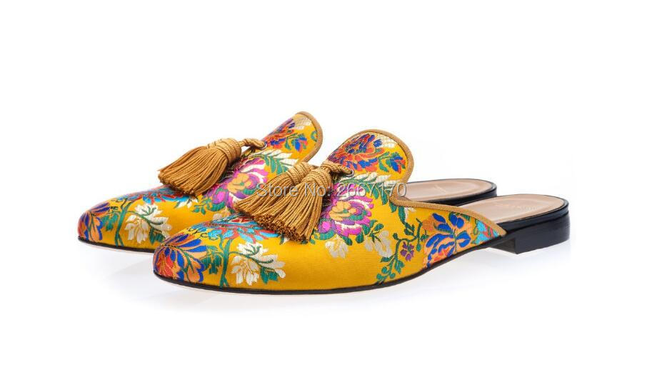 Vintage Fashion Men Shoes Multicolor Canvas Mules Fringed Slippers Embroidered Slip On Flats Tassel Loafers Casual Shoes Men