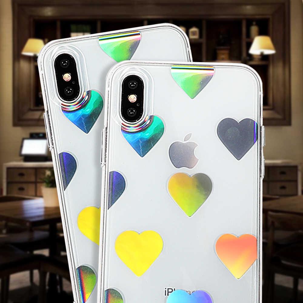 LOVECOM голографическая Лазерная любовь сердца Прозрачный Акриловый чехол для телефона для iPhone X XS MAX XR 6 7 8 Plus Мягкий ТПУ блестящий чехол