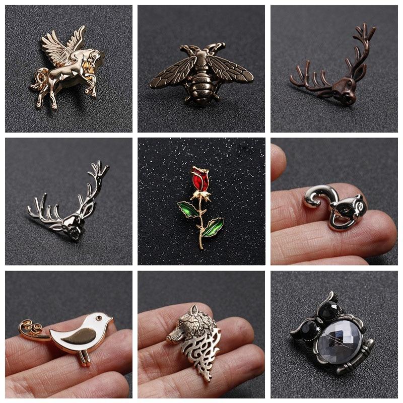 Collar-Needle Shirt Clothing-Decoration Clip-Pin Insect-Series Animal Enamel Brooch Bird/deer