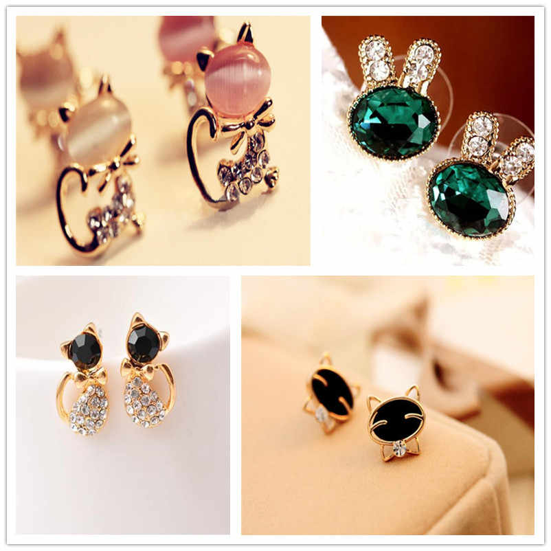2018 Fashion Animal Pineapple Stud Earrings Cute cat rabbit Design Earrings For Women Silver Gold Color Earrings Wholesale