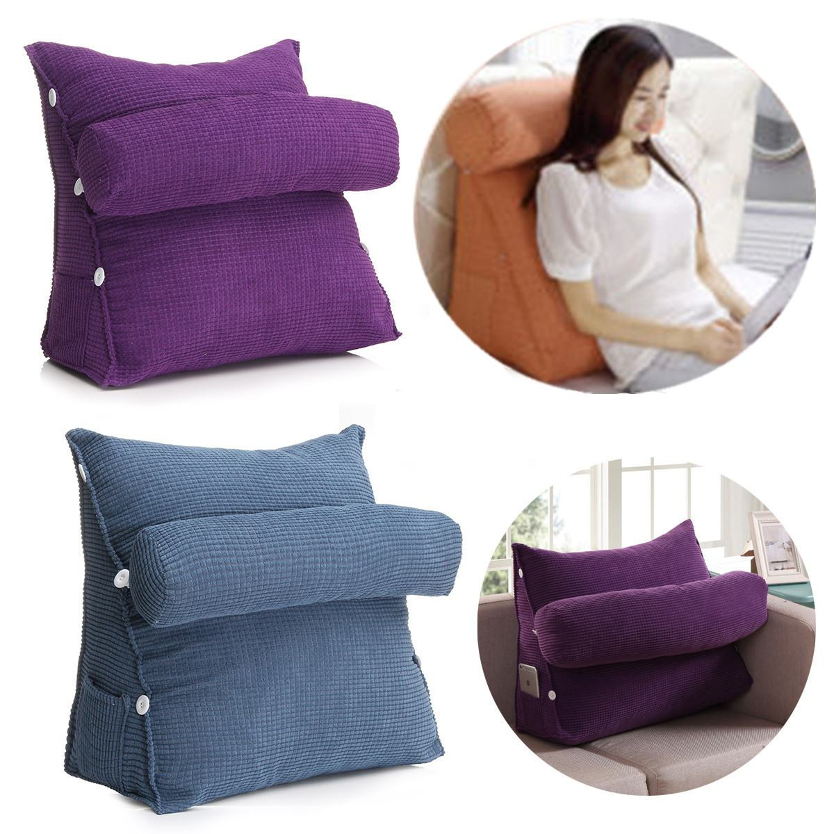 Reading Pillow Bed Bed Triangular Cushion Chair Bedside Lumbar Chair Backrest Lounger Lazy Office Chair Living Room Reading Pillow Household Decor