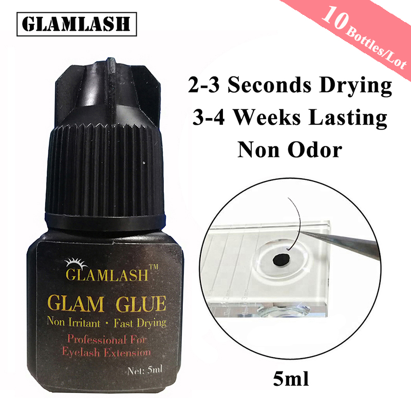 GLAMLASH wholesale 10 Bottles/Lot 5/10ml 2-3s Fast Dry non odor Black eyelash extension glue individual mink false lash Adhesive
