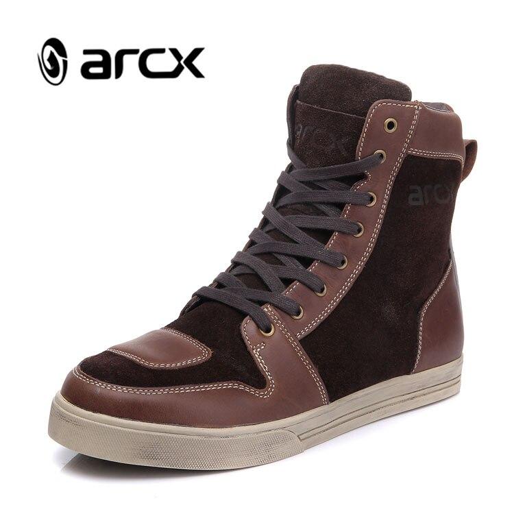 ARCX Moto bottes imperméable en cuir de vache Moto bottes d'équitation hommes route rue chaussures décontractées Motocross respirant bottes L60628
