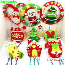 Happyxuan 9 Designs Set DIY Kids Christmas Wind Chimes Craft Kit Felt Fabric Garland with Ornaments Educational Kindergarten Toy(China)