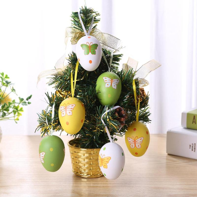6/18/20 Pcs Plastic DIY Easter Egg Pendant Hand Painted Ornament Toys Children's Creative Eggshell Toys Kids Educational Toy
