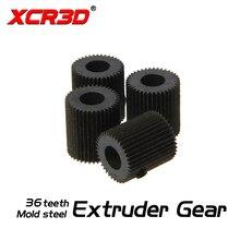 XCR3D 3D Yazıcı Parçaları Kalıp Çelik 36 diş Lineer Ekstruder Dişli Delik 5mm MK7 MK8 Filament Besleyici Sürücü Kasnak dişli Siy...