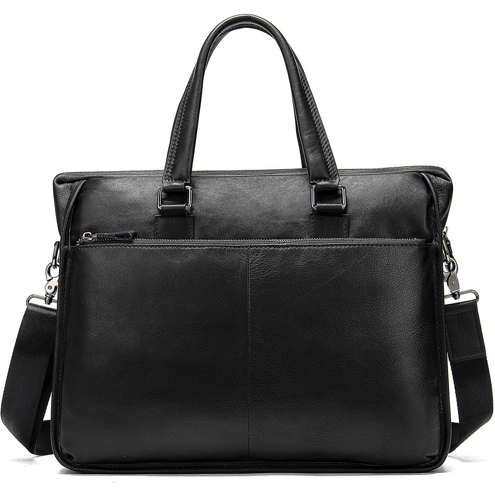 Briefcase Portfolio Messenger-Bag Cross-Body-Handle Genuine-Leather Handbag Men's Famous-Brand