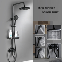 Shower Faucet Black With Round Rain Shower Hand Head Shower Set With Shelf Bathroom