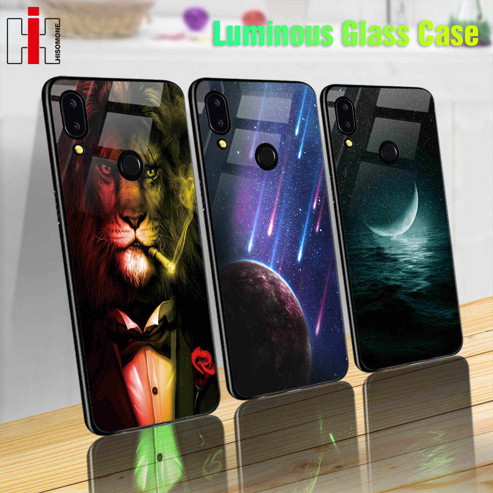 Luminous Glass Case On For Huawei P20 P10 Lite Mate 10 20 Lite P Smart 7S 7C Nova 3 Honor 9 Lite 7A 10 Play 8X Phone Back Cover