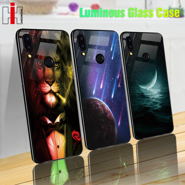 Luminosa caja de vidrio para Huawei P20 P10 Lite Mate 10 20 Lite P Smart 7 S 7C Nova 3 funda trasera para teléfono Honor 9 Lite 7A 10 Play 8X