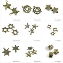 Antique Bronze Tone Jewelry Making Charms Five-pointed Star Loose Beads US Marshal of David Mogen Wings Bracelet Pendant(China)