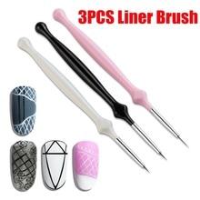 AMSIC 3PCS Nail Art Brush Painting Flower Drawing Line Pen Acrylic UV Gel Polish Nails Tips Design Tool Manicure Brushes New