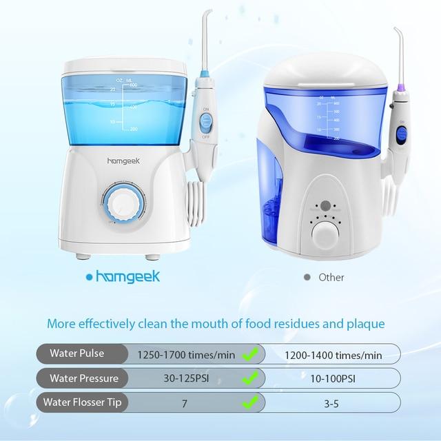 Homgeek Oral Irrigator 7pcs Tips Dental Water Flosser Irrigator for cleaning teeth  irrigators rechargeable  water 1
