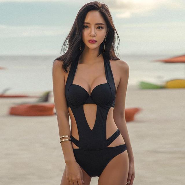 75d04b1406aa31 2019 Sexy Black Halter Cut Out Bandage Trikini Swim Bathing Suit Monokini  Push Up Brazilian Swimwear