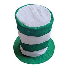 6c2cce2a1adab St. patricks dia branco e verde listras top hat festival irlandês novo  carnaval chapéu traje acessório cabelo desempenho cap