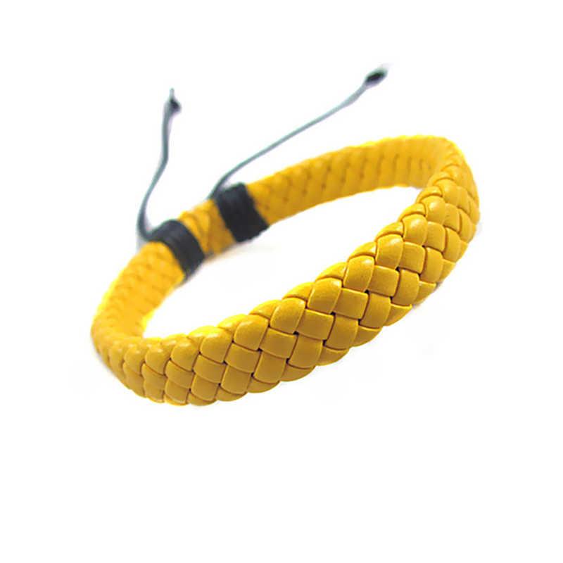 Vente hommes unisexe PU cuir Bracelet réglable Bracelet manchette corde noir Surfer Wrap