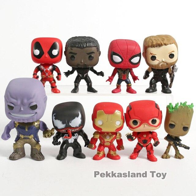 Deadpool Marvel Comics Venom Spiderman Thanos Pantera Negra Flash de Homem de Ferro Capitão América Figuras de Ação Brinquedos Groot 9 pçs/set