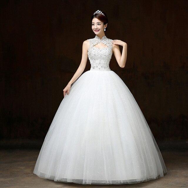 Бальное платье Свадебные платья с аппликацией без рукавов с высоким воротником Свадебные платья на шнуровке с бисером элегантные кружевные свадебные платья Robe De Mariee