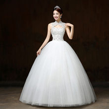 Ball Gown Wedding Dresses Appliques Sleeveless High Neck Lace Up Beaded Bride Gowns Elegant Lace Wedding Dresses Robes De Mariee(China)