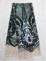Французский кружево Ткань 5yds/pce компанией dhl зеленый кружева с блестками для женщин платья вечеринок Новое поступление 2018 года в нигерийско