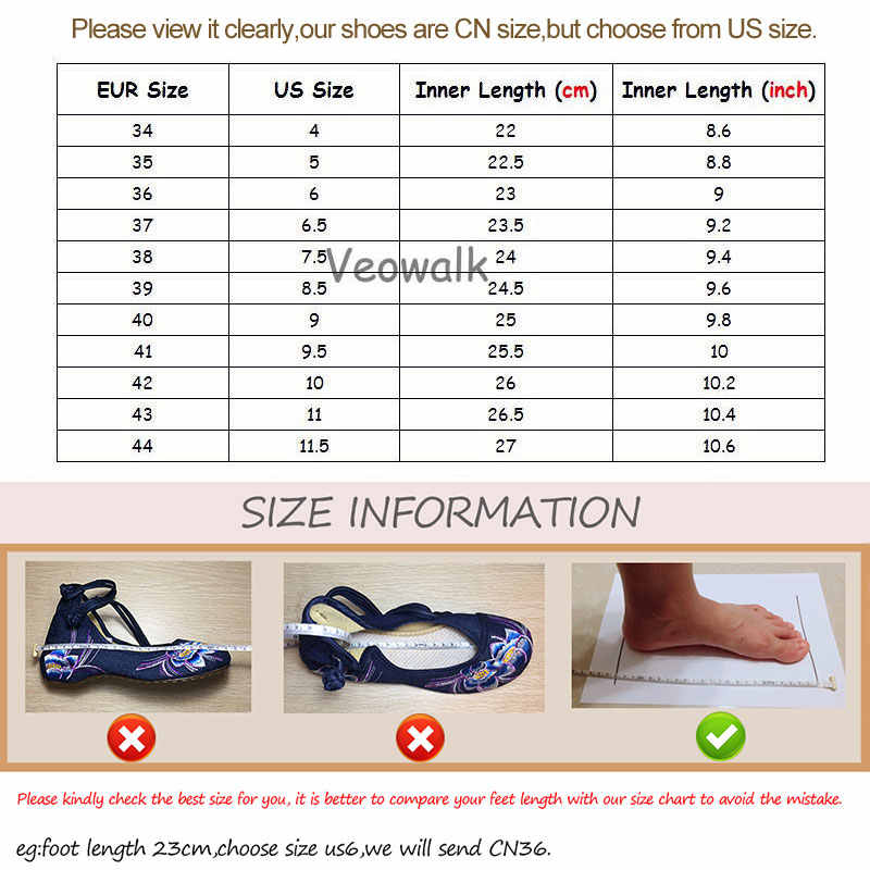 Veowalk สายข้อเท้าผู้หญิงผ้าใบปักบัลเล่ต์สไตล์จีนสุภาพสตรี Casual เดินรองเท้าผ้าฝ้าย Comfort Ballerinas