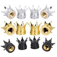 Tampa da válvula de ar do pneu de carro  4 pçs/set universal  estilo coroa  para pneu  roda  haste da válvula de ar  proteção contra poeira  automóvel acessórios