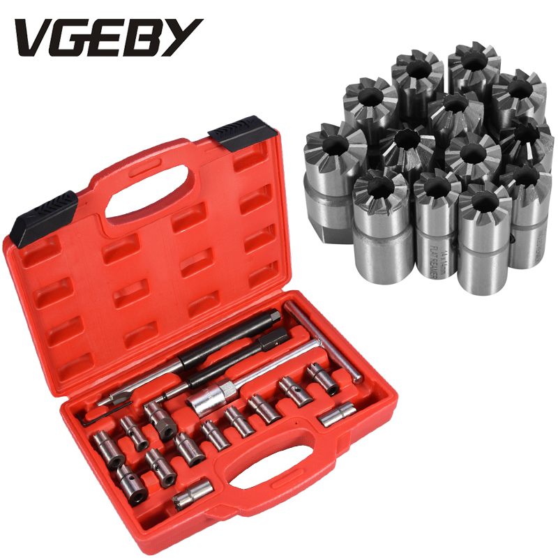 17pcs/set Diesel Injector Seat Cutter Set Cleaner CDI Special Tools Carbon Remover Universal Car Garage Tool Kit NEW