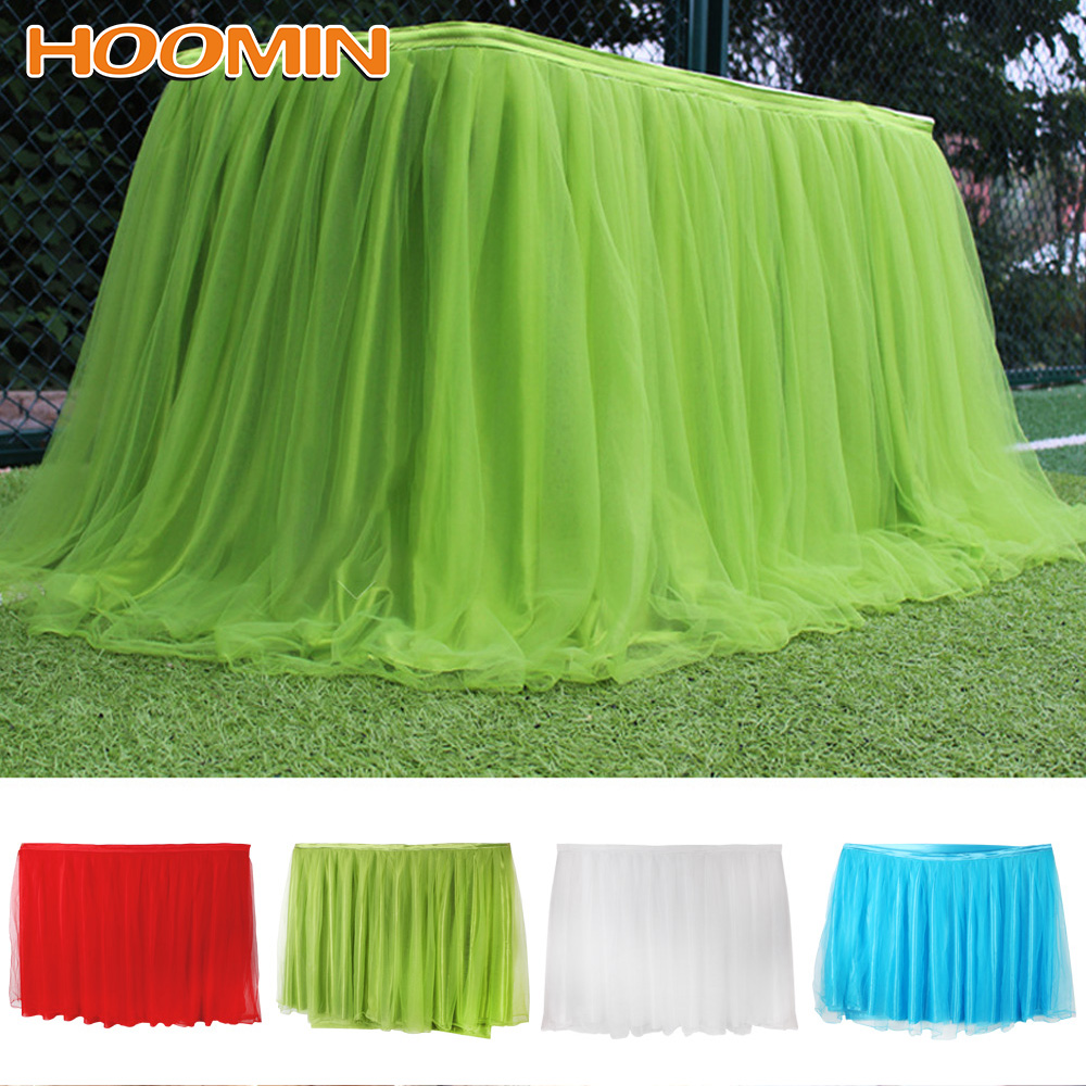Party Tulle Tutu Wedding Party Decoration With Tablecloth + 3 Table Clips 75*100CM Multi Colors Table Skirt Home Decoration