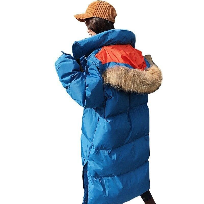 Manteau Bleu Long Grand Fourrure Vers Parka Veste Hiver Ls140 Coton Lâche Femmes Mode Pardessus Le Chaud Nouveau Épais Rembourré Col Bas De twTq77I