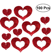 100pcs Laser Heart Garland Ballon Hanging Decor Wedding Birthday Marriage Proposal Party Supplies (Red)(China)